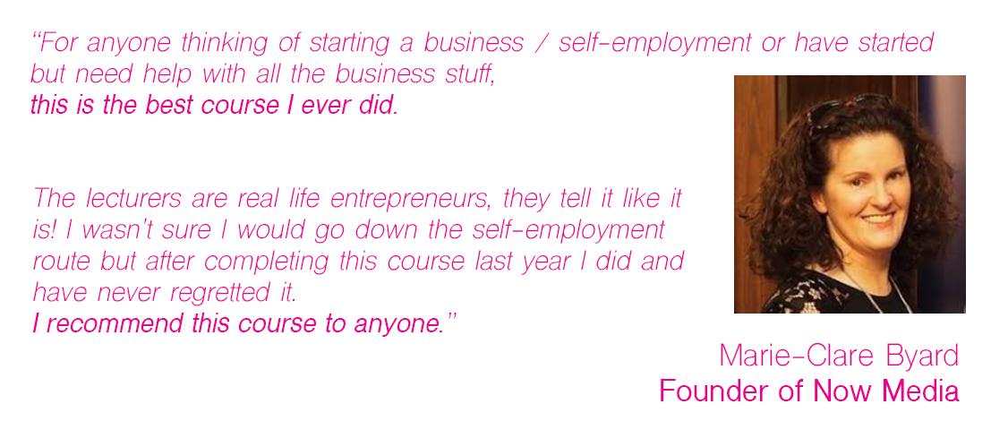 Free 30 Week Enterprise Development Programme Testimonial Marie Claire Byard
